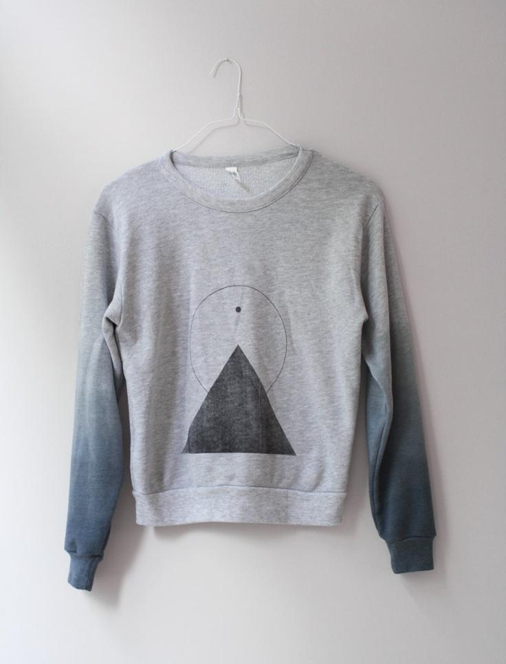 L / THE PYRAMID N.2  /  new age dip dye sweater /  light gray . black . shades of blue. €58.00, via Etsy.