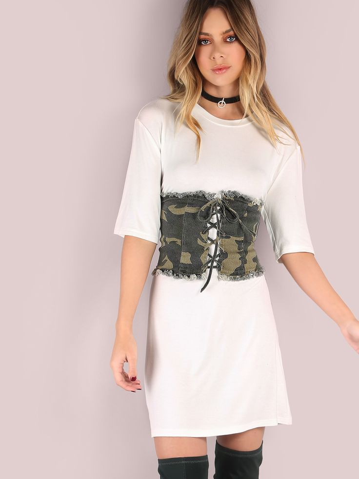 Shop Frayed Hem Camo Stretch Strap Corset online. SheIn offers Frayed Hem Camo Stretch Strap Corset & more to fit your fashionable needs.