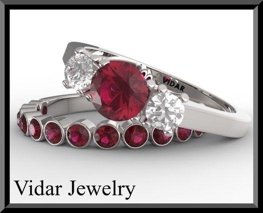 Diamond Wedding Ring Set.Ruby Wedding ring set,Engagement Ring set,unique,custom,luxury,Ruby engagement ring,Half Eternity,Ruby Wedding Ban