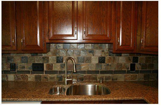 Slate backsplash tiles for kitchen blog rustic indian autumn slate adds drama to kitchen - Backsplash tile rustic ...