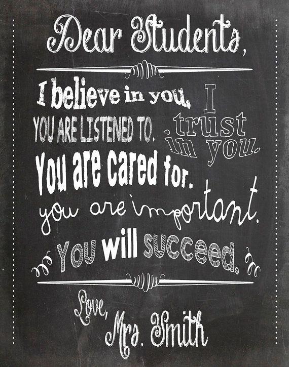 Dear Students - Teacher Chalkboard Classroom Poster - 11x14 inches - Black / Gray / White