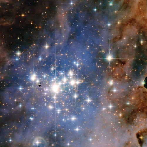 Resembling an opulent diamond tapestry, this image from NASA's Hubble Space Telescope shows a glittering star cluster that contains a collection of some of the brightest stars seen in our Milky Way galaxy. Called Trumpler 14, it is located 8,000 light-years away in the Carina Nebula, a huge star-formation region. Because the cluster is only 500,000 years old, it has one of the highest concentrations of massive, luminous stars in the entire Milky Way.