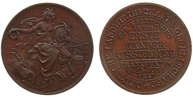 Frankfurt Bronze Erste Wanderausstellung der Deutschen Landwirtschaftsgesellschaft, Frankfurt, belorbeerte weibliche Gestalt mit der Mauer Medaille 1887 vz-stgl