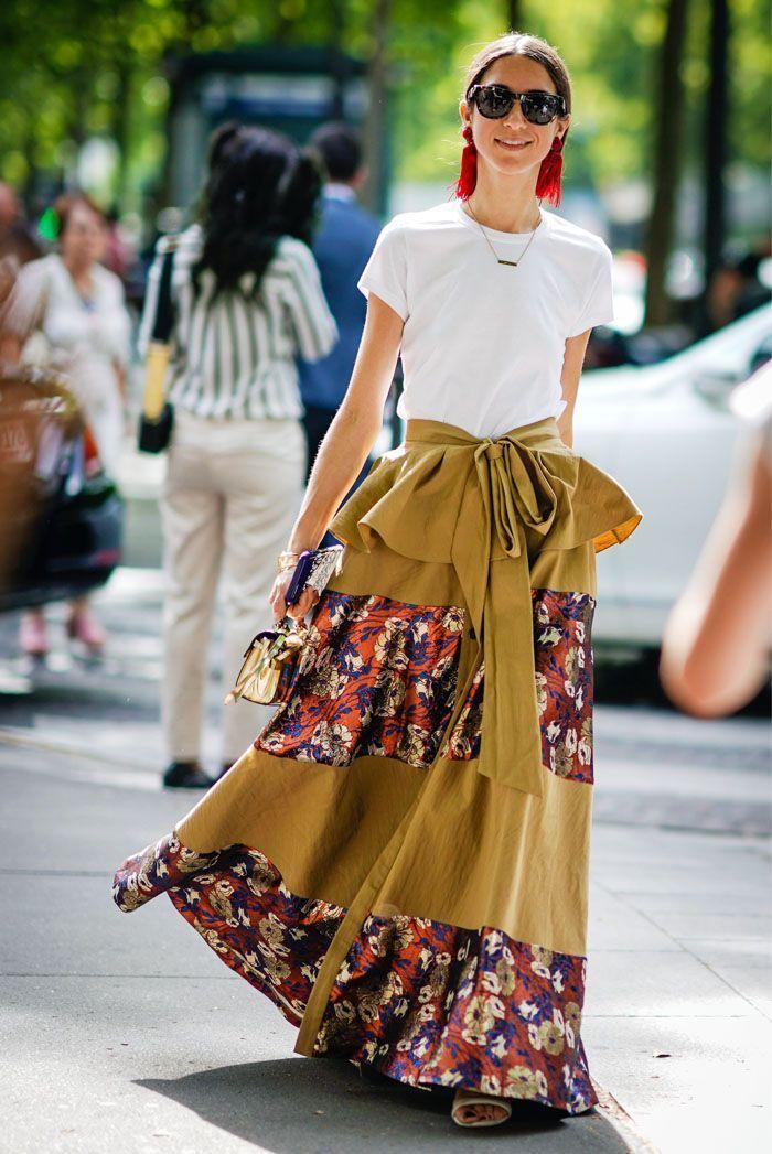 Beautiful printed skirt with a plain tee