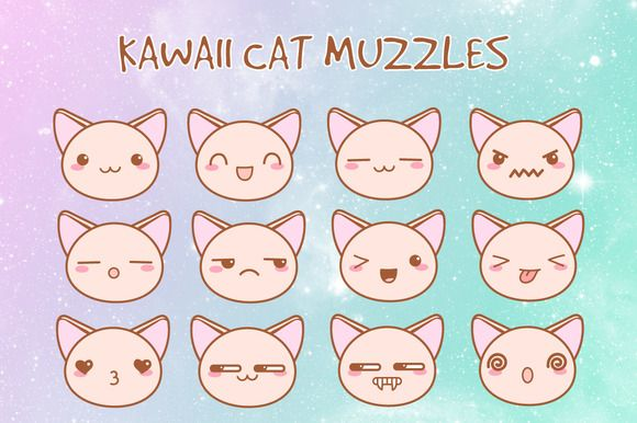 Cute vector kawaii cat muzzles by MaryHat on @creativemarket