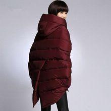 2015 Новый Красный Черный Зимняя Куртка Бат Рукавами Женская Мода долго Вниз Пальто Большой Размер Куртка Mujer Дамы С Капюшоном Теплый верхняя одежда(China (Mainland))