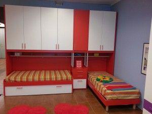 Cameretta S75 cm 350 armadio a ponte doppio letto più letto estraibile - Farolfi Outlet - Promozioni camerette