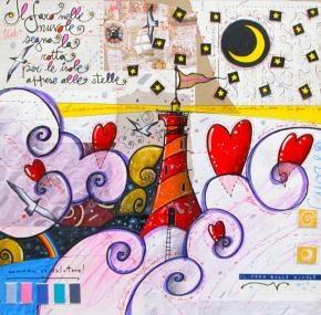 #Agostini Andrea  690,00 €  Il faro sulle nuvole  Tecnica mista su cartone  cm 50 x 50   Anno 2011  con cornice
