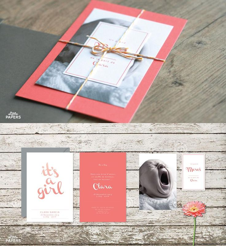 Faire-part naissance - fille - It's a girl  rose/corail http://www.little-papers.com/#!its-a-girl/c1i1