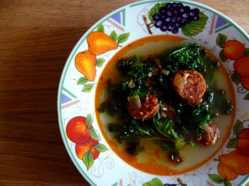 chorizo and kale broth