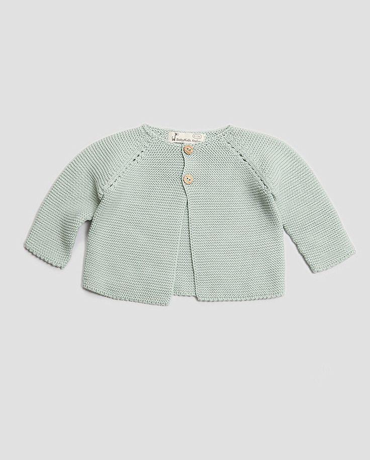 Chaqueta punto bobo, de algodón 100%, para bebé y recién nacido. Color verde menta. #modabebe #newborn #reciennacido #mint #babywear