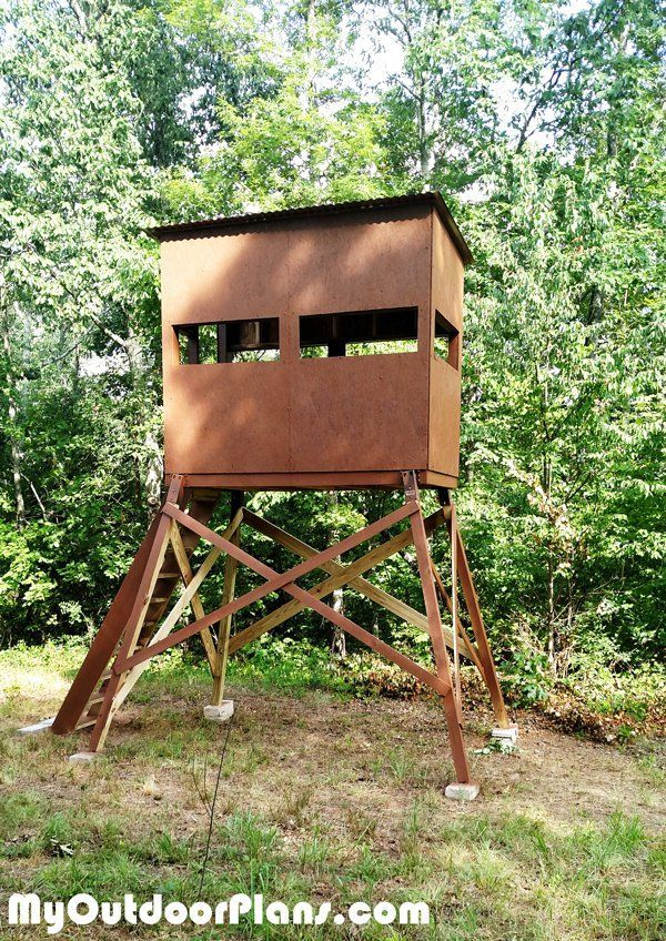A wooden deer shooting blind.
