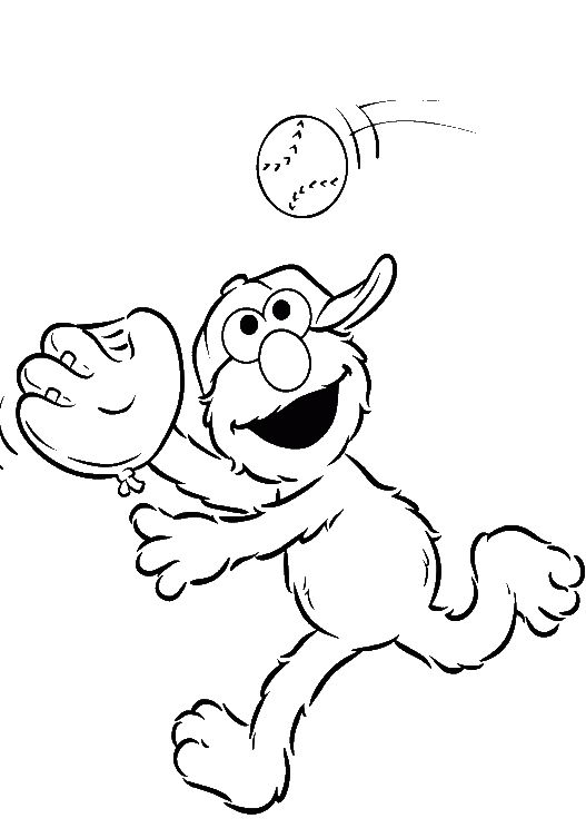 Elmo Was Playing Small Ball Coloring Page Pages Kidsdrawing Free