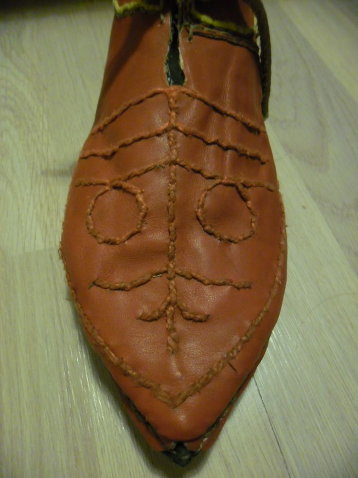 Medieval female decorated shoes based on 12th century wall-painting from a Byzantine monastery St.Pantaleon, Gorno Nerezi, Macedonia.