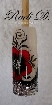 It`s all about nails: Step by Step: Glitter french and one stroke flower