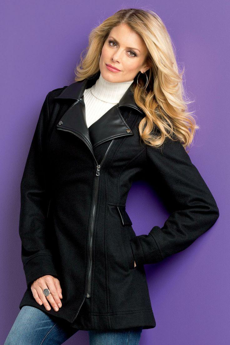 Faux-Leather Trim Coat Misses | MetroStyle