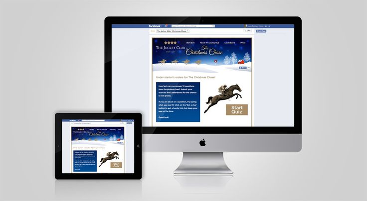 The Jockey Club is the largest commercial group in British horseracing, with assets including Cheltenham and Newmarket racecourses. Governed by Royal Charter, all profits are invested back into the UK's second biggest spectator sport. We were tasked with designing, developing and maintaining their Christmas Chase online game working alongside 33 Digital. The Game was designed as a Facebook app and was extended to be a stand alone responsive website visible across desktop and mobile devices.