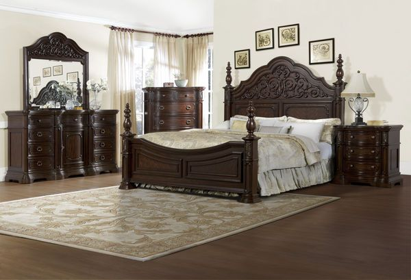 the via massara elegant master bedroom set dark finish home decor