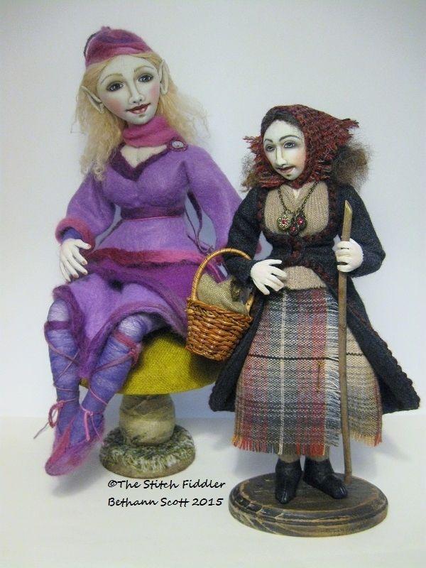 "Fairy Elf and The Traveler Textile Art Dolls by Bethann Scott  ""The Stitch Fiddler"""