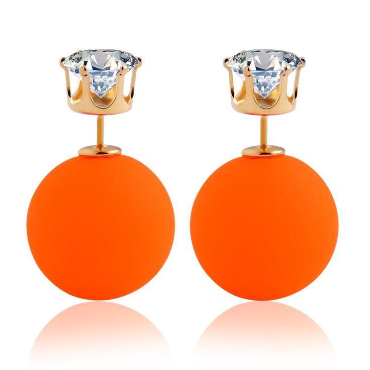 Summer stijl hot nieuwe kleurrijke nageloorring ronde grote acryl kraal crystal crown charm earring ontwerp kleine voor vrouwen LS51