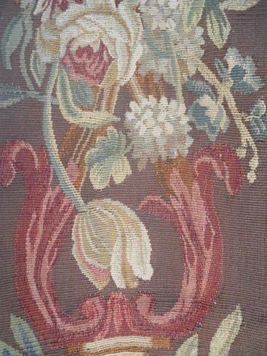 AUBUSSON TAPESTRY BIRDS ANTIQUE FRENCH 19TH-CENTURY PETITPOINT FLORAL DECOR