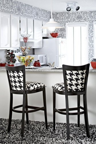 love the houndstooth and everything else in this kitchen