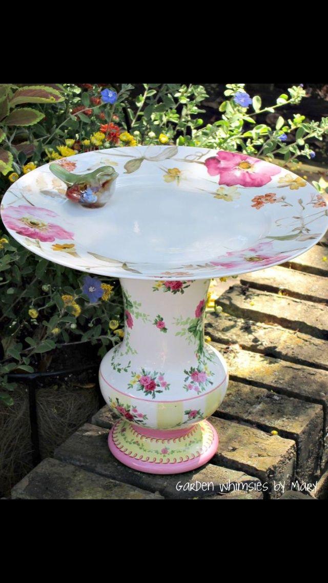 Bird Baths From Vases | Vase + plate = instant bird bath!