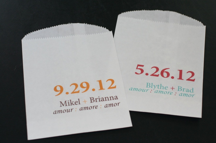 25 Amour, Amore, Amor White Favor Bags - Custom Wedding Favor Candy Buffet Lolly Bar - Contact for Other Quantities.  via Etsy.
