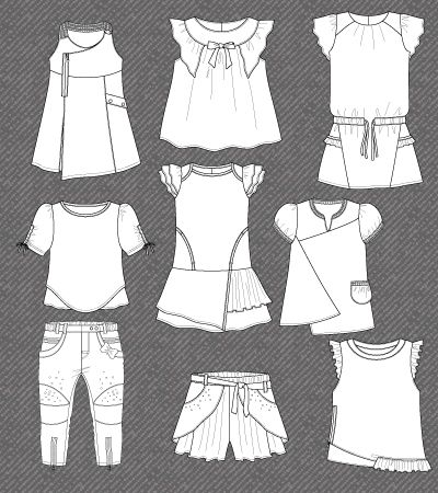 Set of isolated flat sketches for girls | Kidsfashionvector | cute vector art for kids clothes