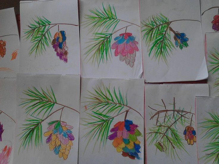 Buah Cemara Berwarna warni  Memasuki suasana natal tahun ini, belajar menggambar untuk anak kecil bertema tumbuhan, kupilih buah cemara sebagai objek gambar. Dan ini beberapa hasil gambar mereka,...