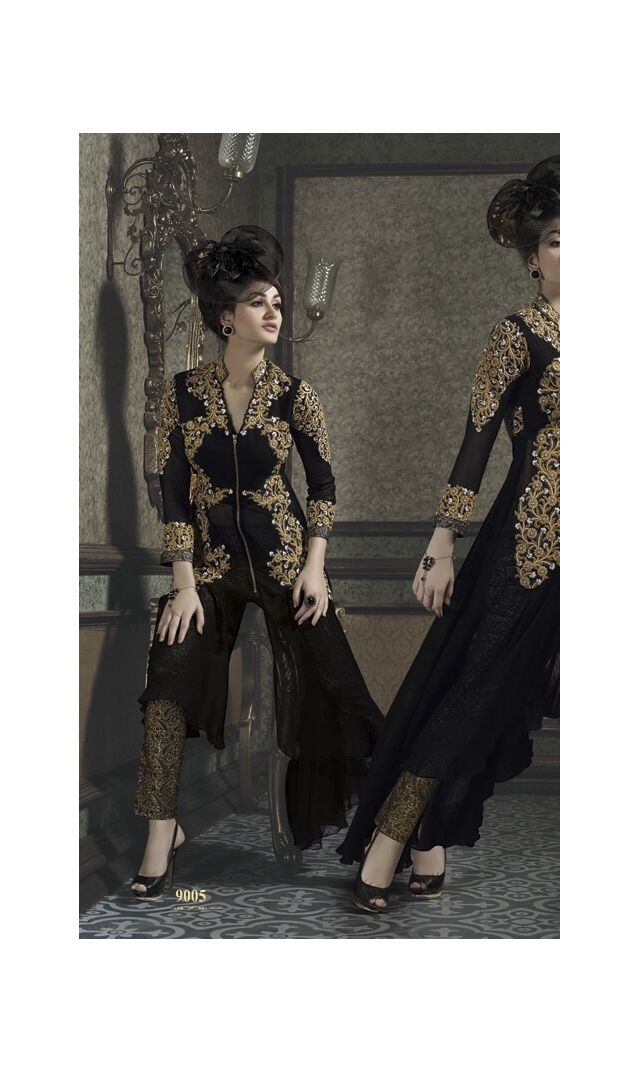 Beguiling Black Embroidered Designer Salwar Suit