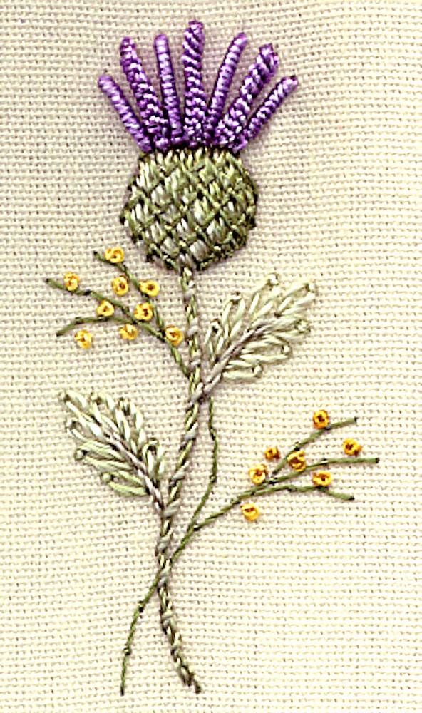 embroidered thistle - beautiful!