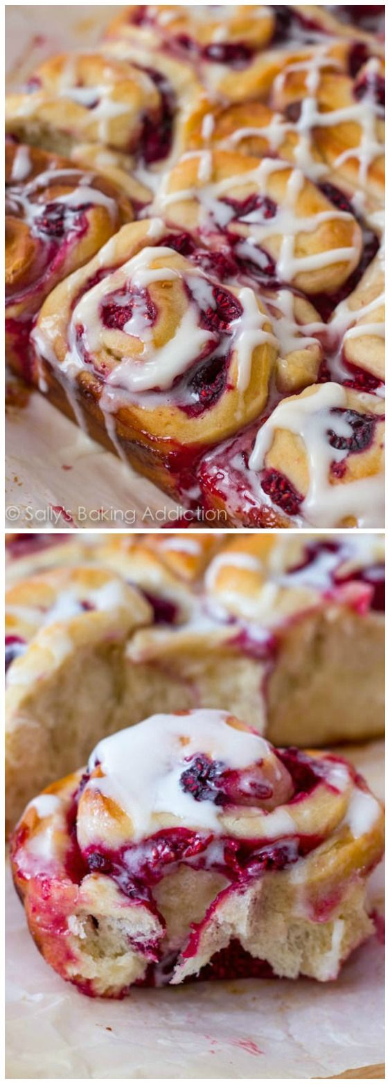 Raspberry Sweet Rolls - these are so good! Soft & fluffy sweet roll dough filled with juicy raspberries and drizzled with glaze. Recipe by @sallybakeblog
