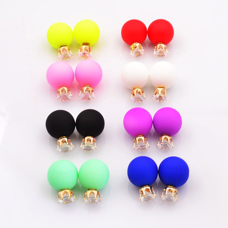 New Fashion jewelry double side crystal 16MM pearl Frosted matte stud earring gift for women girl mix color E2657