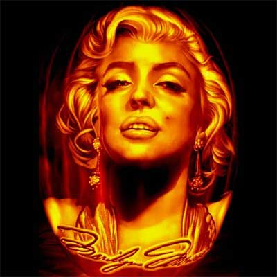 """""""This pumpkin is of one of my favorite movie stars Marilyn Monroe. She is carved onto a artificial pumpkin. I think she turned out great and..."""
