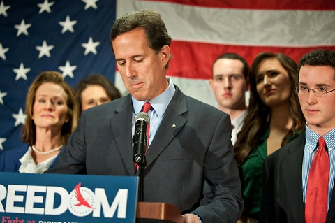Rick Santorum announces the suspension of his presidential campaign in Gettysburg, Pa., on Tuesday, April 10.