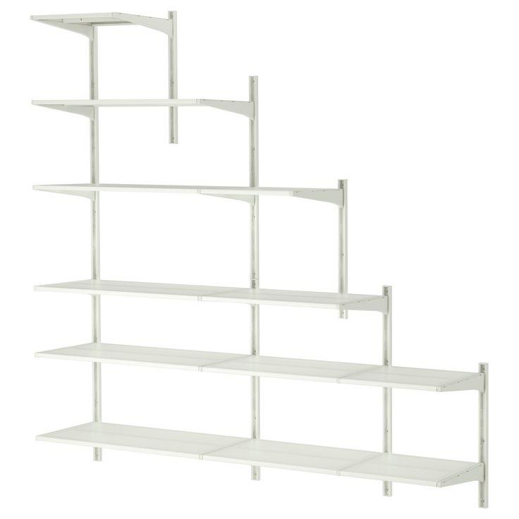 Si può collocare in un sottoscala o in una stanza con soffitto spiovente. Altezza minima: 56 cm Altezza massima: 196 cm IKEA ALGOT Guida da parete/ripiani