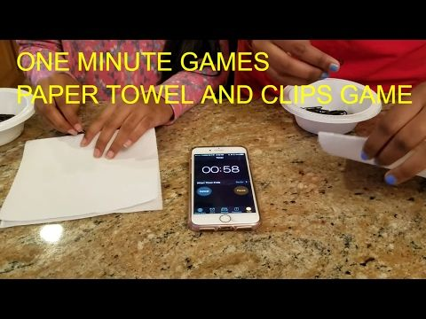 ONE MINUTE GAMES - PAPER TOWEL AND CLIPS - YouTube