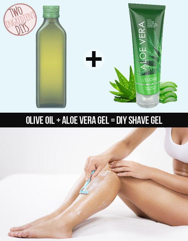 ✔ Create a soothing shave gel with just aloe vera and olive oil. Combine one part olive oil with three parts pure aloe vera gel (for example, 1 cup olive oil, 3 cups aloe vera gel). Mix well and add several drops of your favorite essential oil for fragrance if you'd like. Mix well and store in a container. (I used grapeseed oil instead of olive oil since I only had that on hand, and added a bit of honey as well for a little extra moisture)