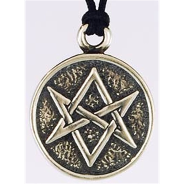 """Though not as famous as the pentagram, the hexgram has been used as a magical symbol for thousands of years. It is frequently viewed as a form that can act as a portal to the spirit world. As such, the Magic Hexagram amulet is a great tool for anyone seeking to invoke or evoke spirits, angels or demons. It is also great for people looking to learn astral travel and otherwise exert stronger influence in the spirit world. The amulet measures 3/4"""" in diameter and comes strung upon a black nylon…"""