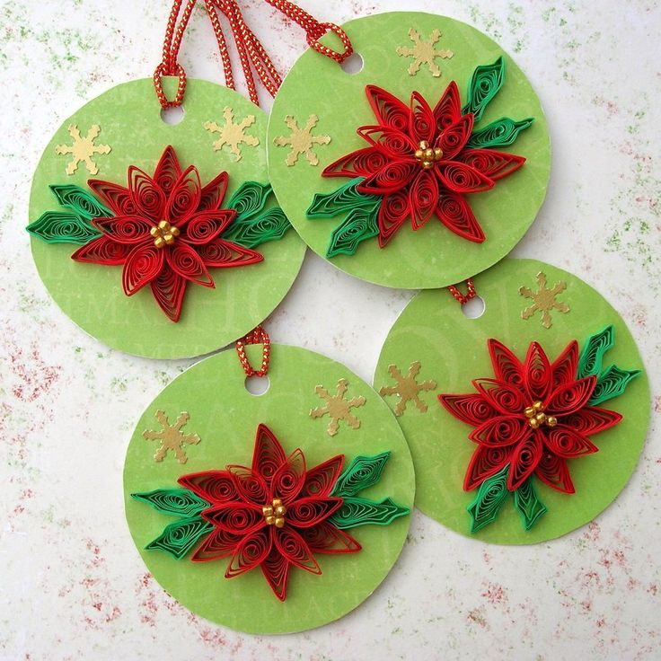 christmas holiday gift hang tags quilling paper quilled