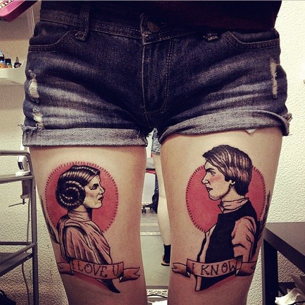 hans solo and princess leia star wars tattoos