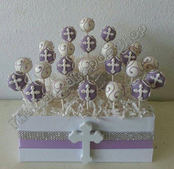Lavender Cross Cake Pops Christening di TheMaDCakePopShop