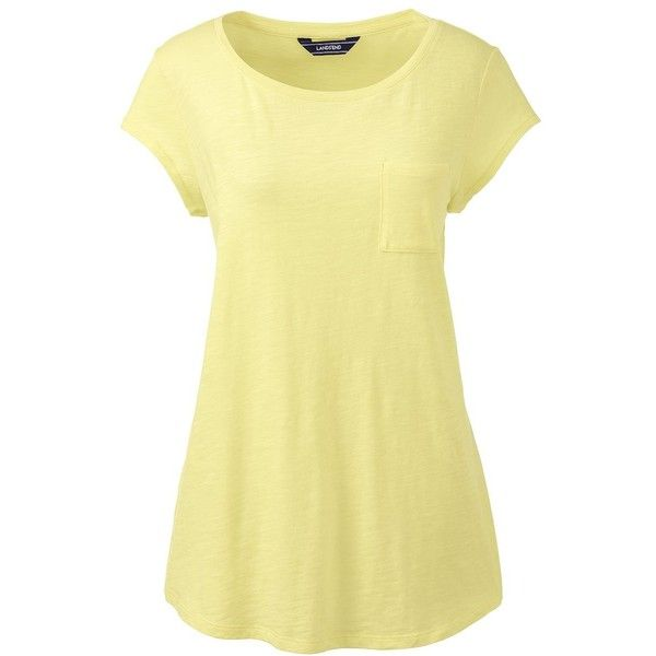 Lands' End Women's Petite Cap Sleeve Pocket Tee ($25) ❤ liked on Polyvore featuring tops, t-shirts, yellow, cotton tees, pocket tees, front pocket t shirt, crew t shirts and crew neck tee