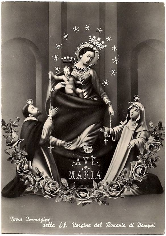 This vintage postcard from Pompei in Italy shows Mary and Jesus handing out rosaries to St Dominic and St Catherine of Siena. The Dominican order was responsible for popularising the rosary.