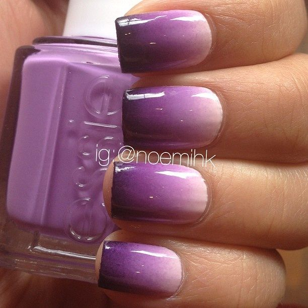 Purple Ombre nails  Learn the style!  www.BellaBeautyCollege.com