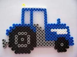 Blue Tractor Perler Bead