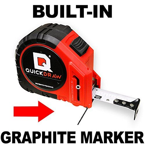 NEW QUICKDRAW PRO Self Marking 25' Foot Tape Measure - 1st Measuring Tape with a Built in Pencil - Contractor Grade Steel Tape - Power Locking Tape Ruler, 2016 Amazon Hot New Releases Industrial Power & Hand Tools #Industrial