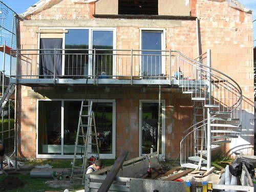 Balkon Anbaubalkon Verzinkt  + Wendeltreppe Edelstahl
