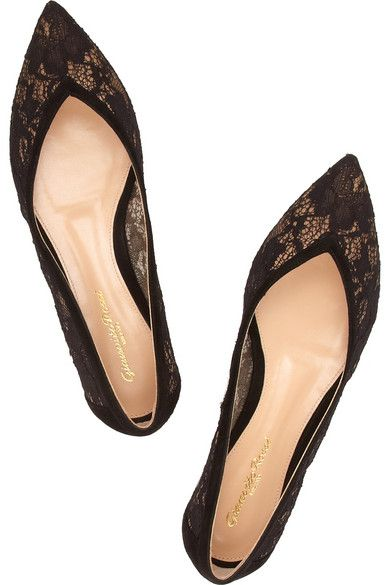GIANVITO ROSSI Suede-trimmed lace flats $625